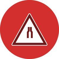 Route de vecteur se rétrécit sur les deux côtés Icône de panneau de signalisation