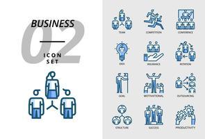 Pack d'icônes pour entreprise, équipe, compétition, conférence, idée, assurance, rotation, objectif, motivation, sous-traitance, structure, succès, productivité vecteur