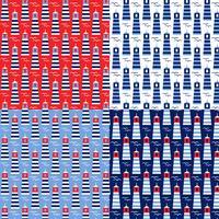 modèles de phare sans couture rouge blanc bleu vecteur
