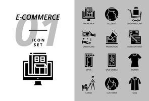 Pack d'icônes pour commerce électronique, boutique en ligne, compte, panier d'achat, paiement, promotion, contrat de signature, magasin ouvert, vente mobile, vêtement pour femmes, cargaison, client, vêtement pour homme vecteur