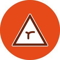 Jonction de vecteur de plier devant l'icône de panneau de signalisation