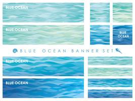 Ensemble de bannières / cartes assorties avec des motifs de vagues.