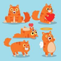 Chats mignons. Animaux heureux, chat avec un chat drôle et souriant. Jeu d'illustration vectorielle personnage animal