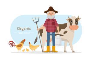 personnage de dessin animé de famille de fermier heureux dans une ferme rurale biologique vecteur