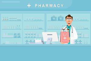 pharmacie avec médecin et infirmière au comptoir vecteur
