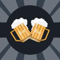 verre de bière et chope sur fond sombre vecteur