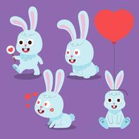 Lapin de dessin animé. Lapins animaux domestiques, lapins de Pâques et peluche petit lapin de printemps animal isolé vector illustration ensemble