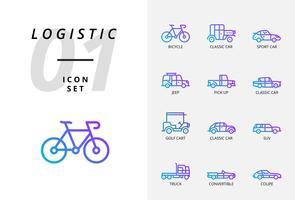 Pack d'icônes pour la logistique, camion à plateau, produit de recherche, livraison, avion, poids, scooter, emplacement, protégé, livraison, train, bateau, emplacement du globe. vecteur