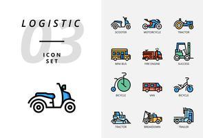 Pack d'icônes pour la logistique, camion rapide, achat, délai de livraison, chariot élévateur, conteneur, emballage, conteneur, bateau, facteur, fret aérien, messager à vélo, suivi. vecteur