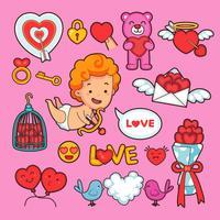 Icônes vectorielles Saint Valentin des vacances de l'amour romantique. Coeurs, cadeaux de mariage et ruban, gâteau au chocolat, cupidon et couples de cygnes et de colombes, bouquet de fleurs roses, calendrier et bague en diamant