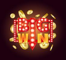 Signe rétro avec lampe Big Win. Illustration vectorielle