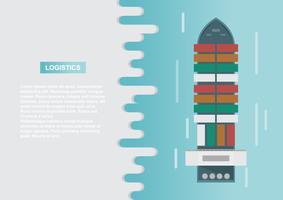 Logistique du transport maritime. Fret maritime. Navire cargo, transport de conteneurs sur style plat