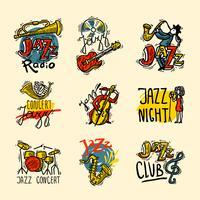 Ensemble d'étiquettes Jazz vecteur