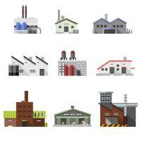 Bâtiments industriels plats vecteur