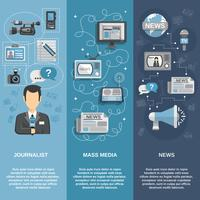 Ensemble de bannières pour journalistes vecteur