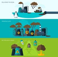 Ensemble de bannière de pollution vecteur