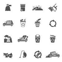 icônes de déchets noir