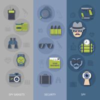 Ensemble de bannières de gadgets espion vecteur