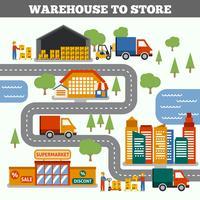 Concept d'entrepôt à magasin
