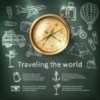 Affiche de voyage du monde avec boussole