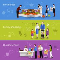 Bannières de gens de supermarché