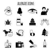 allergies icônes noir