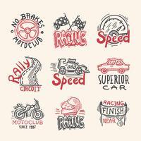 Set d'emblèmes de course vecteur