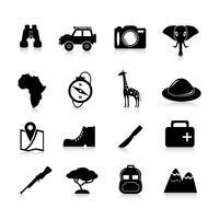 icônes safari noir