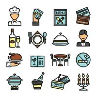 Jeu d'icônes de restaurant vecteur