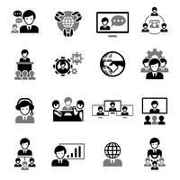 Icônes de réunion d'affaires noir