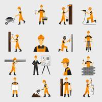 Icônes de travailleur de construction à plat vecteur