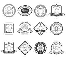 Collection d'icônes de fruits légumes étiquettes