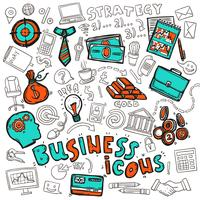 Croquis des icônes d'affaires doodle vecteur