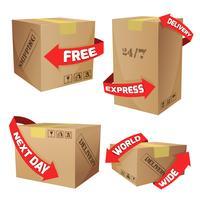Boîtes avec symboles de livraison vecteur