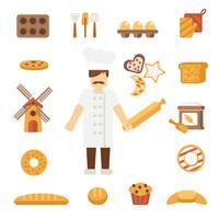 Icônes de Baker à plat vecteur