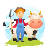 Fermier avec vache vecteur