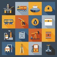 Icônes de l'industrie pétrolière à plat
