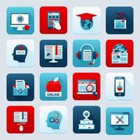 Icônes d'éducation en ligne vecteur