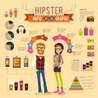 Ensemble d'infographie hipster vecteur