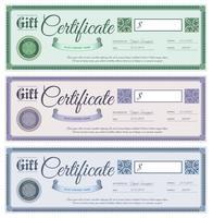 Ensemble de certificats cadeaux vecteur