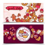 sweetshop vintage bonbons bannières ensemble vecteur