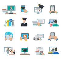 Icône plate d'éducation en ligne vecteur