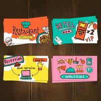 Set de cartes d'hôtel vecteur