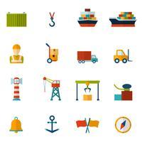 icône plate du port maritime
