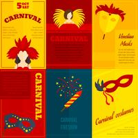 Affiche de composition d'icônes de carnaval vecteur