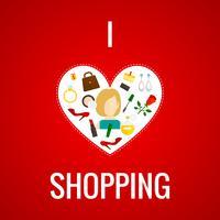 Femme shopping icône du cœur à plat vecteur