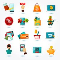 jeu d'icônes de commerce électronique vecteur
