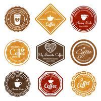 Jeu d'étiquettes café rétro