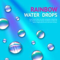 Gouttes d'eau avec arc-en-ciel