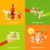 Alcool Cocktails Icônes Plat